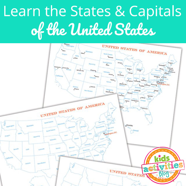 Learn the United States of America - States and Capitals Worksheets