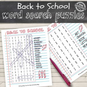 Back to School Word Search Puzzles
