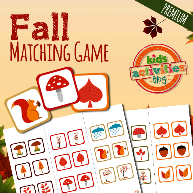 Fall Matching Game for Preschool Memory Building