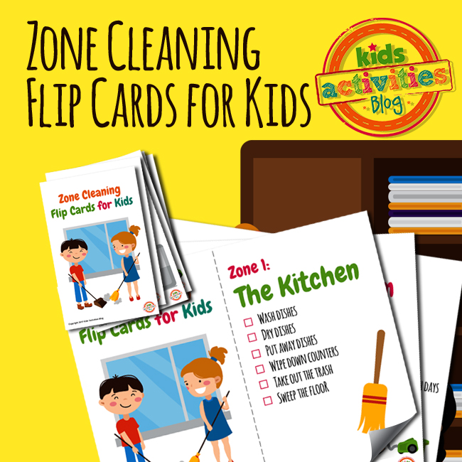 Chore Zone Cleaning Flip Cards for Kids