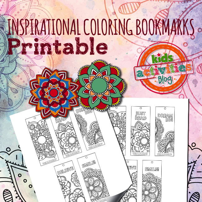 Printable Inspirational Coloring Bookmarks