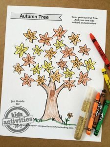 Fall Tree Coloring Page Printable