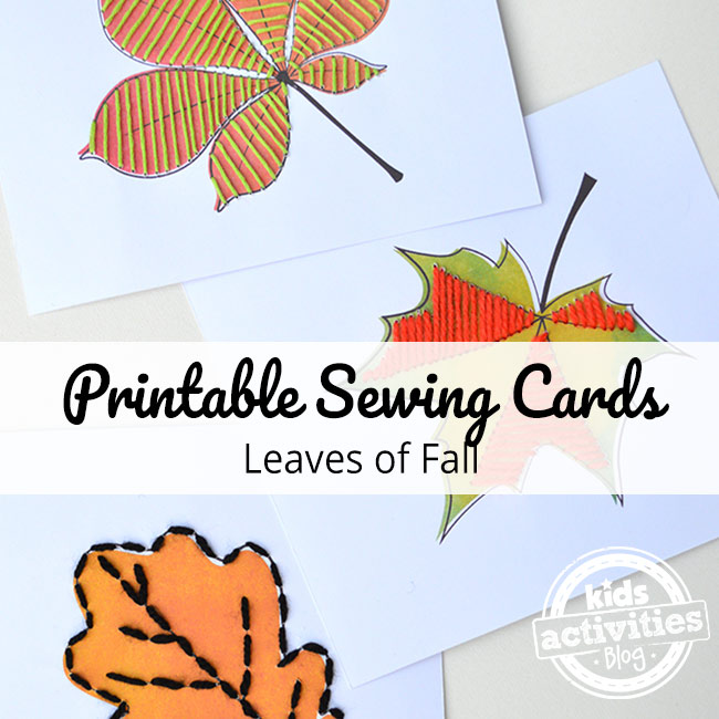 Printable Sewing Cards - Leaves of Fall