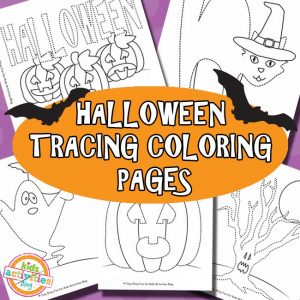 Halloween Tracing Coloring Pages for Kids