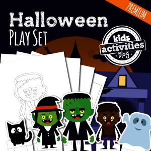 Printable Halloween Play Set of Paper Dolls and Haunted House