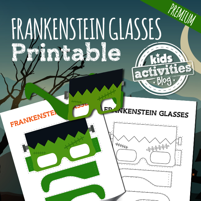 Printable Frankenstein Glasses Craft for Kids for Halloween