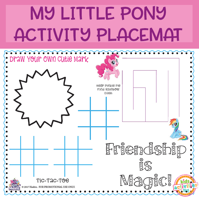 My Little Pony Activity Placemat