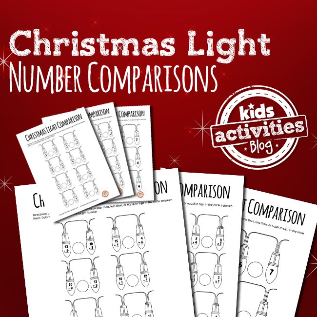 CHRISTMAS LIGHTS GREATER THAN LESS THAN NUMBER COMPARISON MATH WORKSHEETS