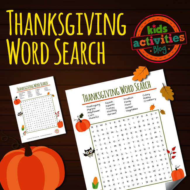 Printable Free Thanksgiving Word Search Puzzle for Kids