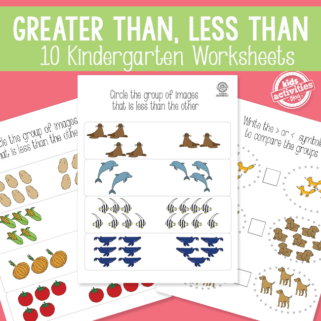 Printable Greater Than Less Than Kindergarten Math Activity Pack