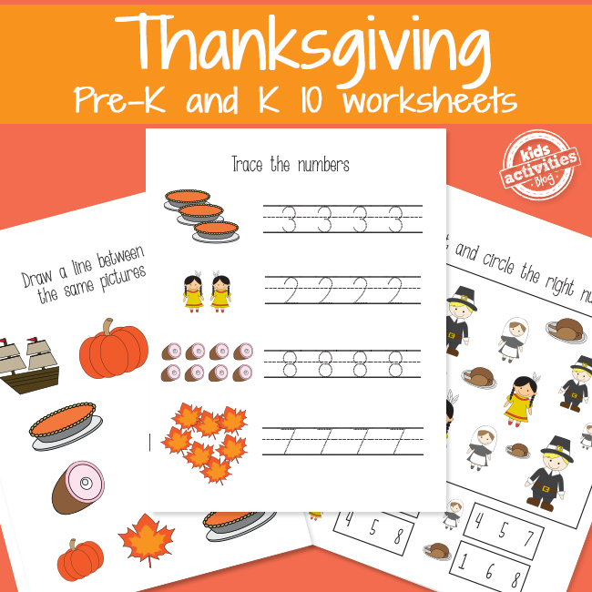 Printable Thanksgiving Activity Worksheets for Preschool and Kindergarten