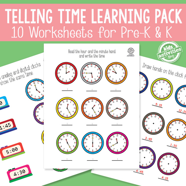 Telling Time Worksheets for Kids