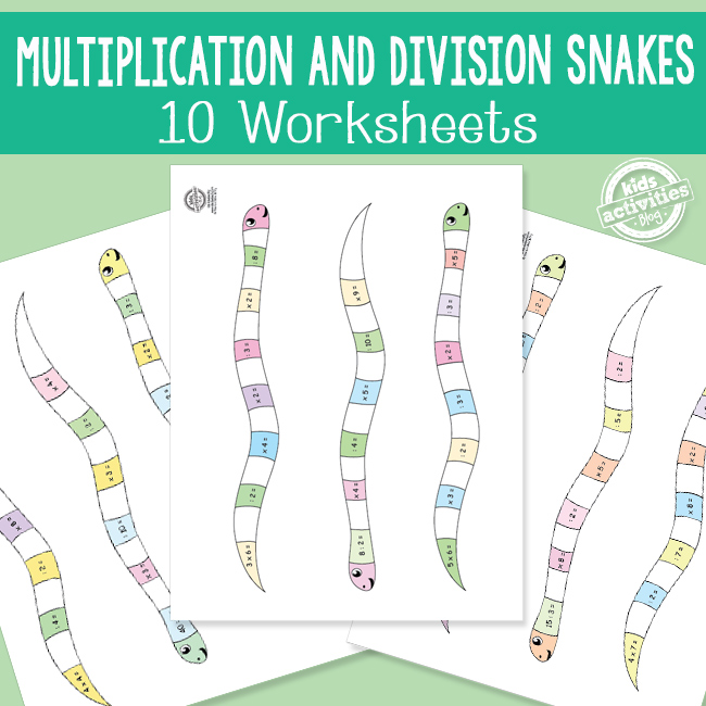 Multiplication and Division Snakes Math Worksheets