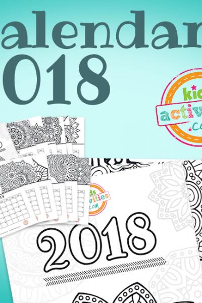 2018 Coloring Calendar with Mandalas