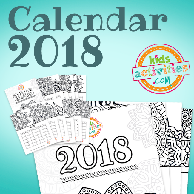 Printable 2018 Coloring Calendar with Mandalas