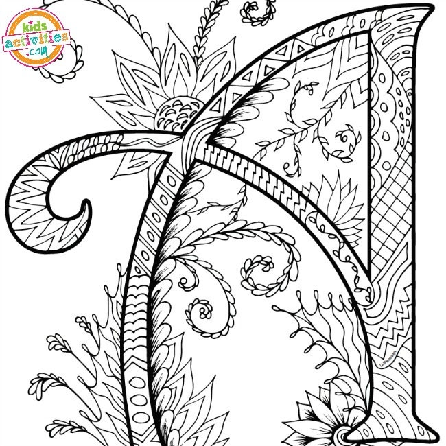 Printable Alphabet Zentangles Coloring Pages