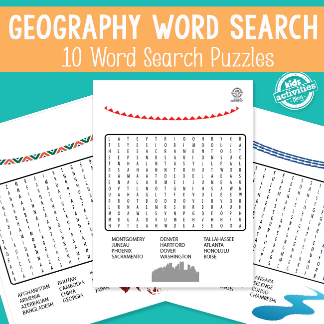 Geography Word Search Puzzles for Kids