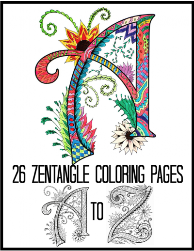Printable Zentangles Alphabet Coloring Book