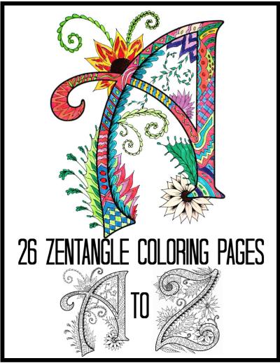Printable Zentangles Alphabet Coloring Book