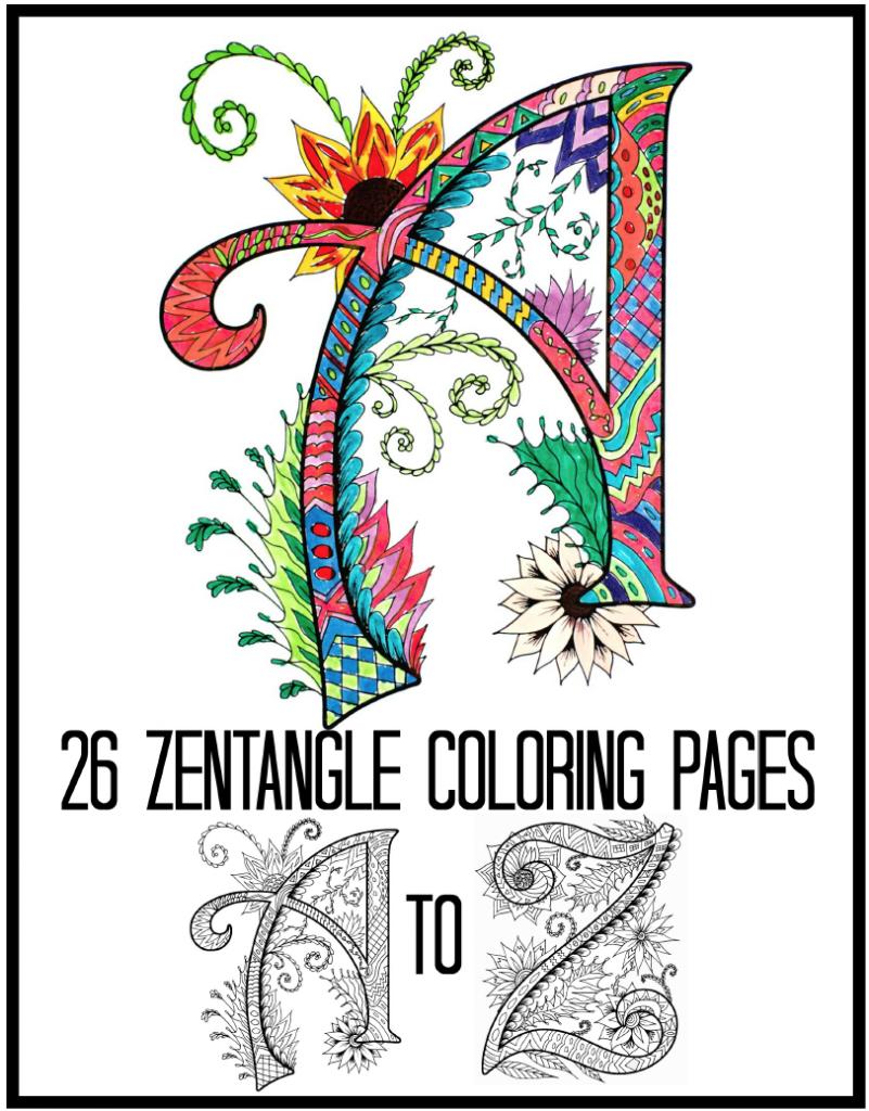 Zentangles Alphabet Coloring Book