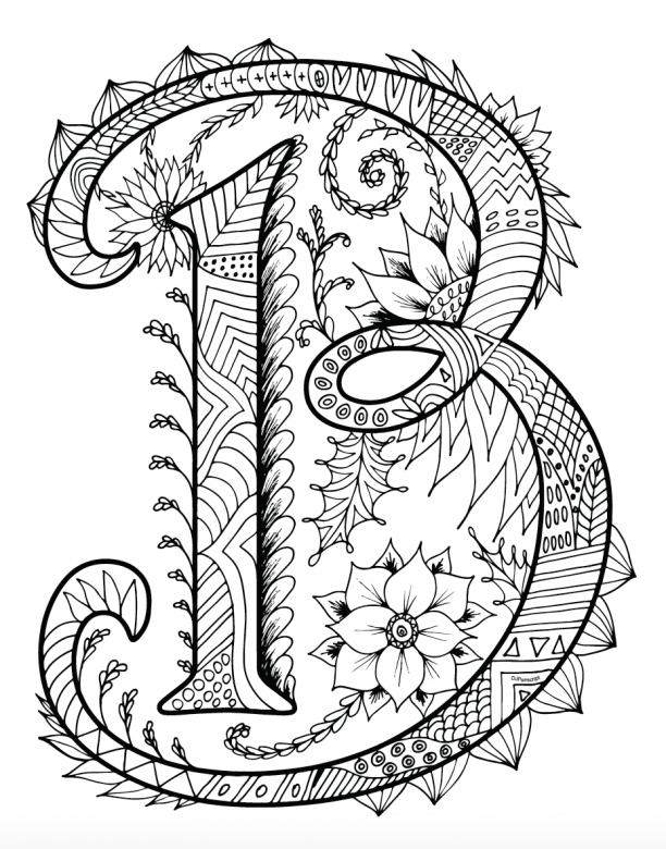 Printable Zentangles Coloring Book - Letter B