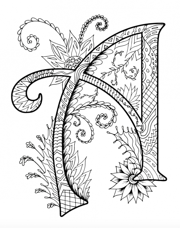Printable Zentangles Coloring Book - Letter A