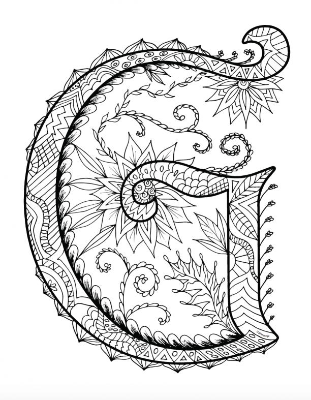 Printable Zentangles Coloring Book - Letter G