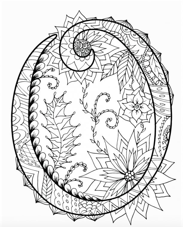 Printable Zentangles Coloring Book - Letter O