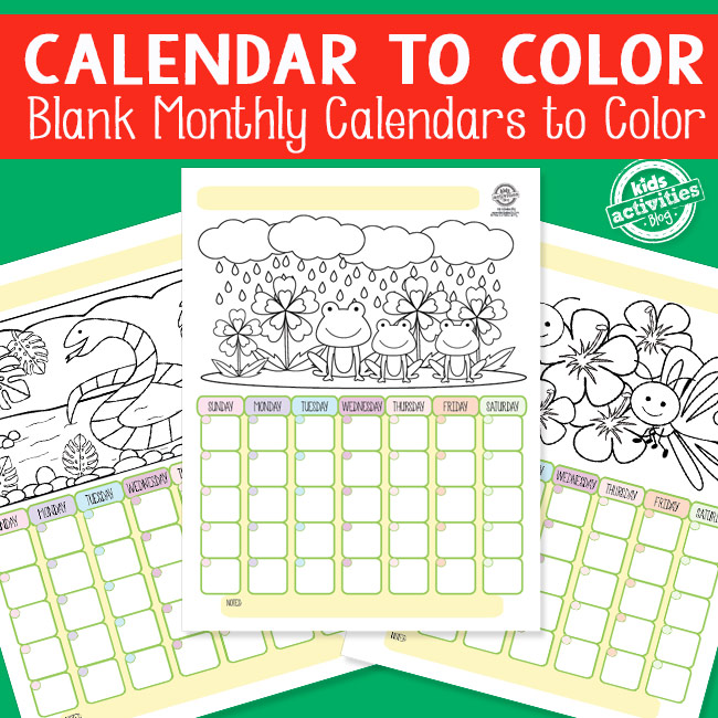 Printable Calendar to Color for Kids