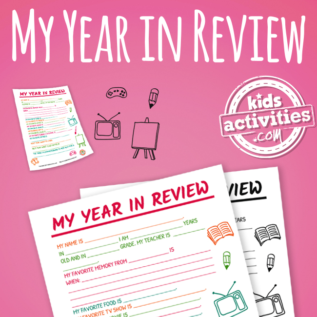 My Year in Review New Years Activity for Kids