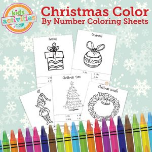 Printable Christmas Color by Numbers Coloring Sheets