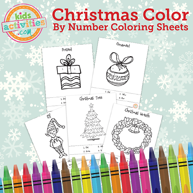 Christmas Color by Numbers Coloring Sheets