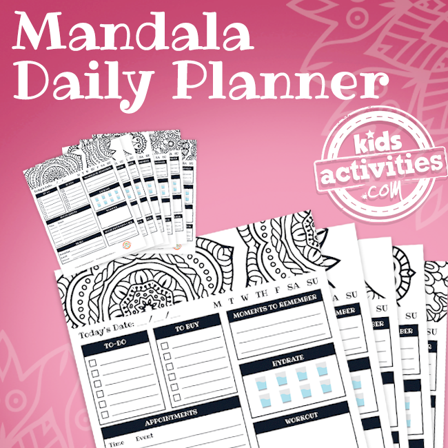 Printable Mandala Coloring Planner Pages