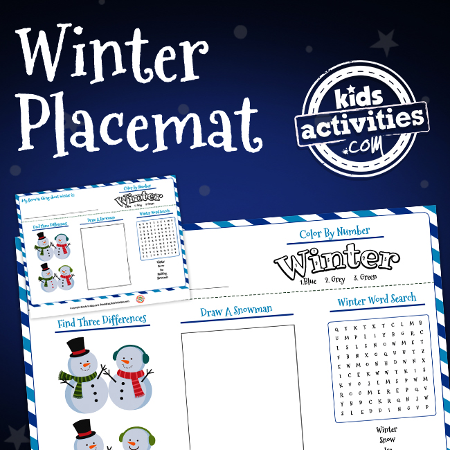Printable Winter Activity Placemat