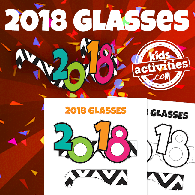 Printable 2018 Glasses for Kids and Adults - Printables.KidsActivities.com