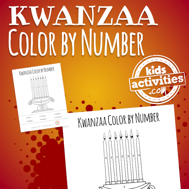 Printable Kwanzaa Color by Number Coloring Page