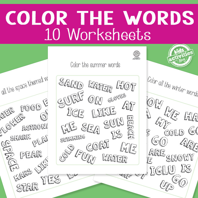 Printable Color the Words Worksheets
