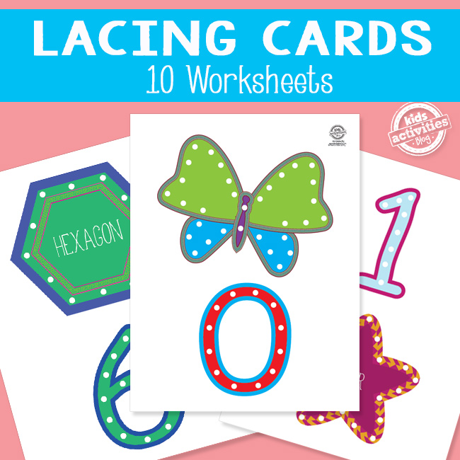 Printable Number and Shape Lacing Cards for Kids