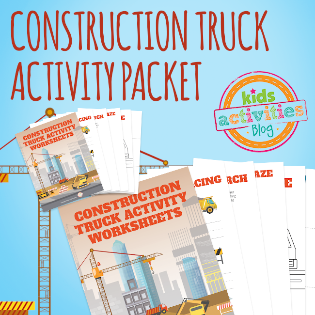 Printable Construction Truck Activity Book for Kids