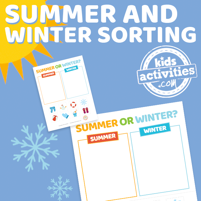 Printable Preschool Sorting Worksheet - Summer and Winter Sorting - Printables.KidsActivities.com