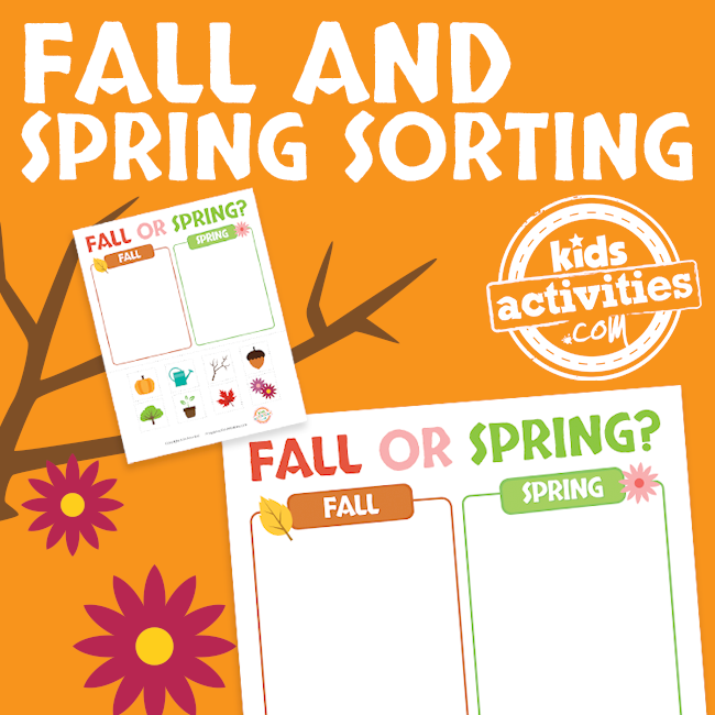 Preschool Sorting Printable Worksheet for Fall and Spring