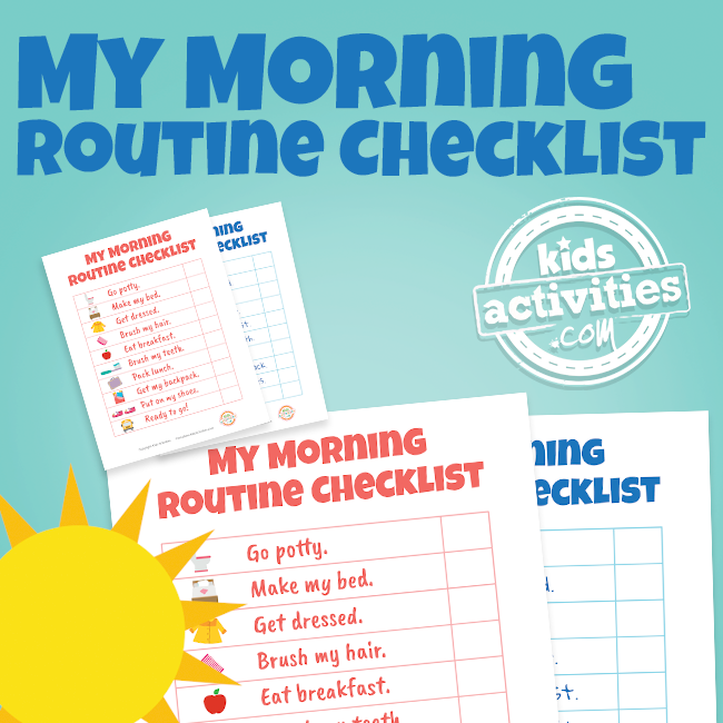 Morning Routine Checklist Printable for Kids - Printables.KidsActivities.com