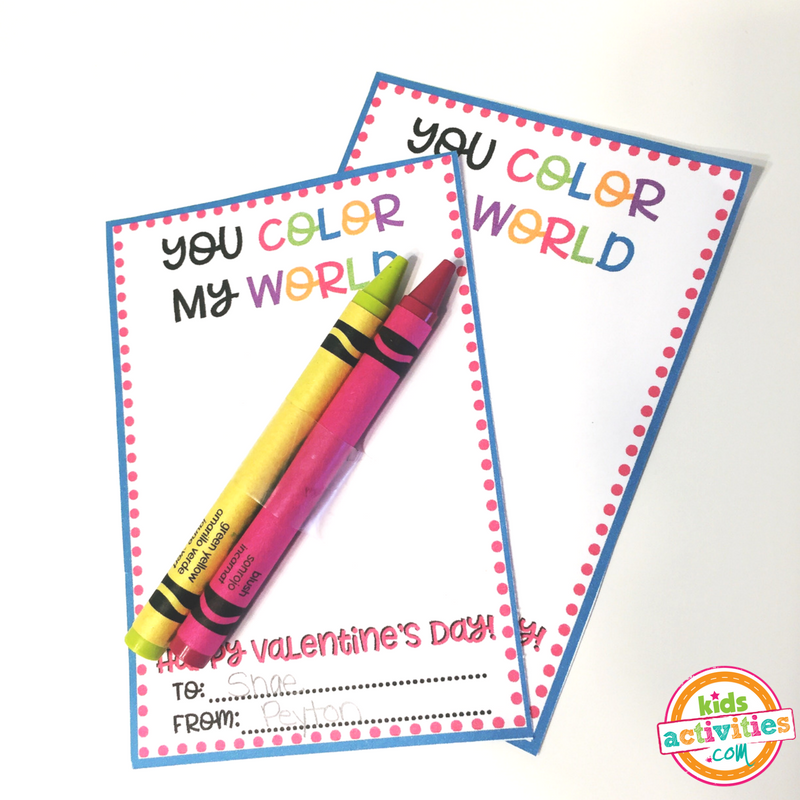 You Color My World Printable Valentine