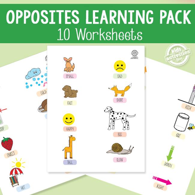 Preschool Opposites Learning Pack
