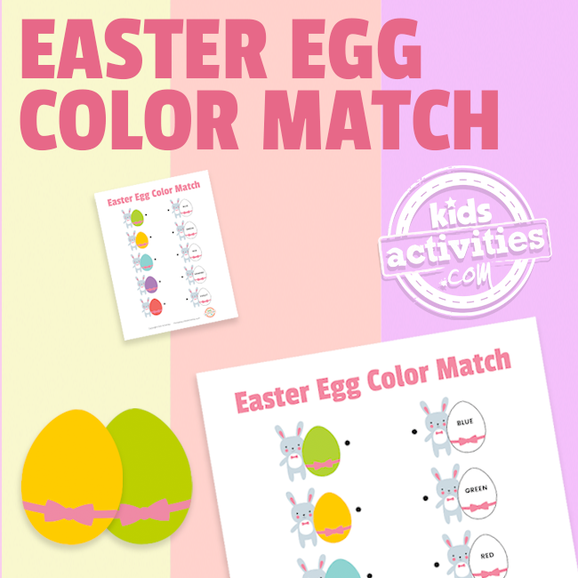 Easter Egg Color Match Worksheet for Preschoolers