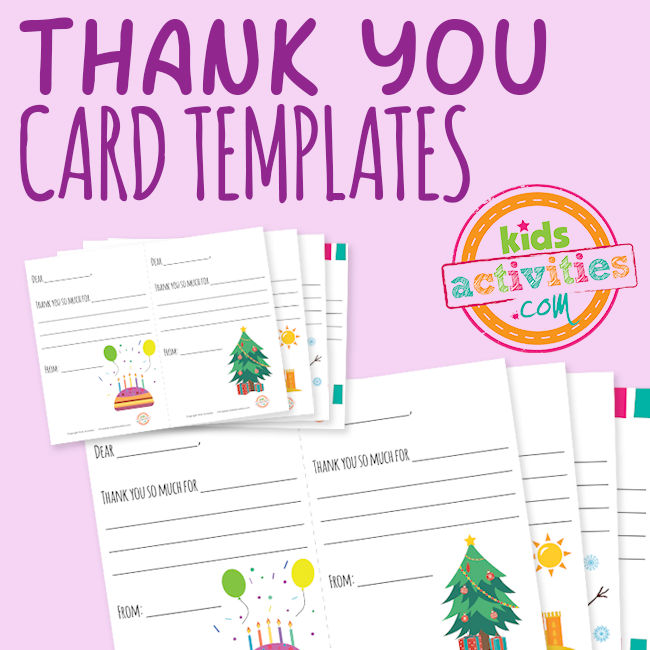 Thank You Card Templates for Kids