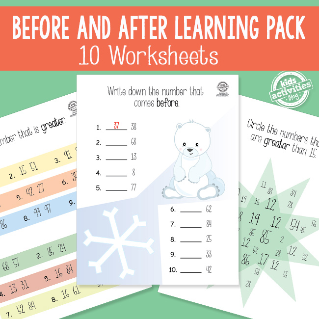 Printable Before and After Numbers Learning Pack