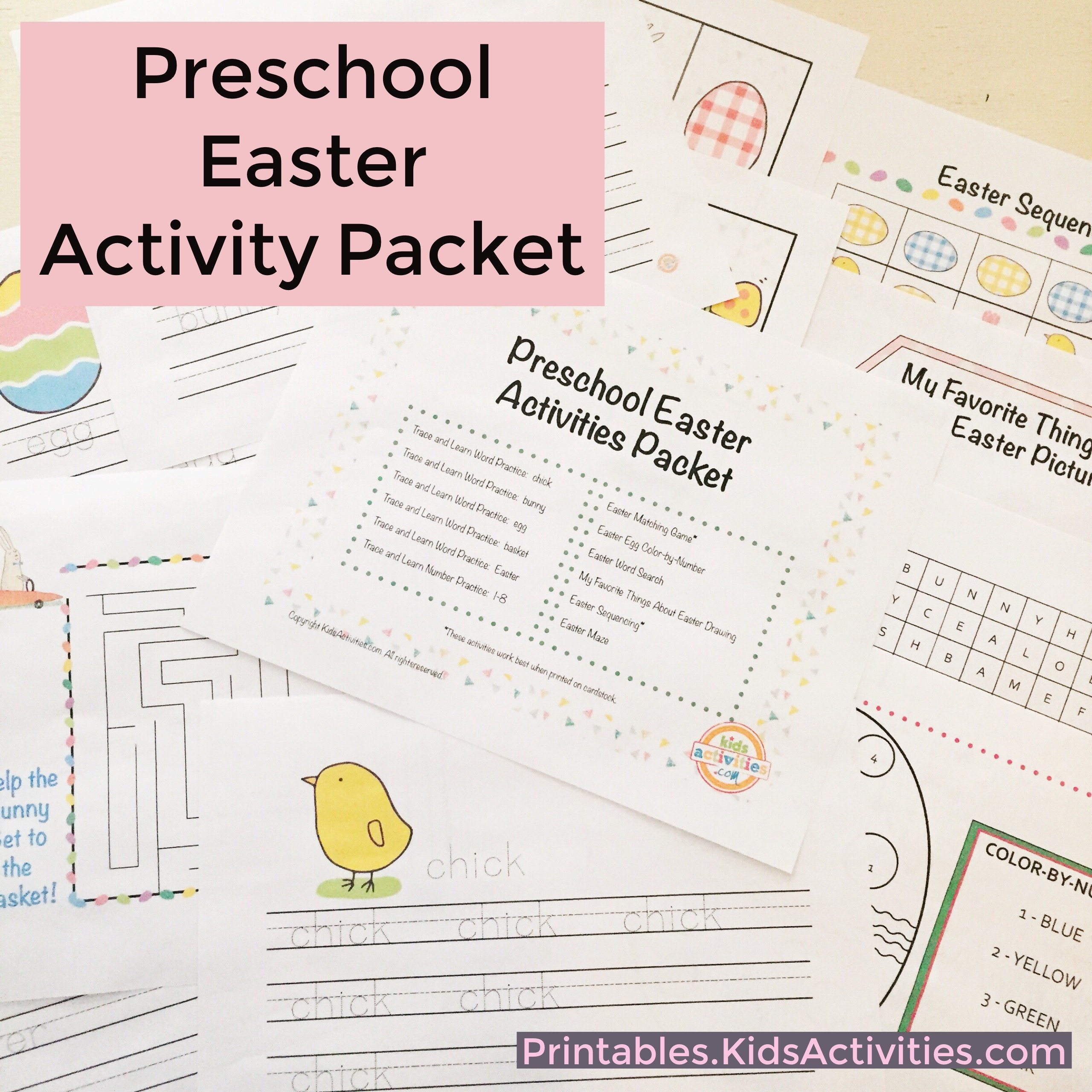 Preschool Easter Activity Packet - Printables.KidsActivities.com