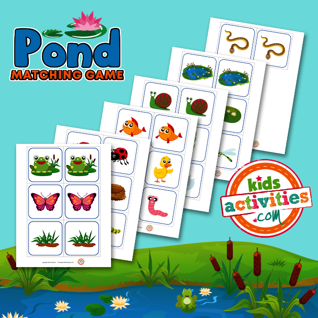 Pond Matching Game - A Printable Memory Match Game for Kids