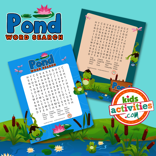 Pond Word Search Puzzles for Kids
